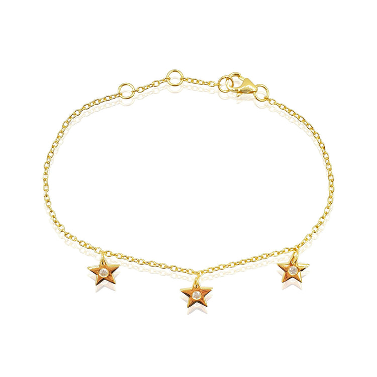 Star Charms Bracelet with White Topaz in 18k Gold Vermeil