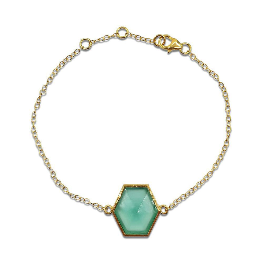 Mara: Hexagon Bracelet with Green Onyx in 18k Gold Vermeil