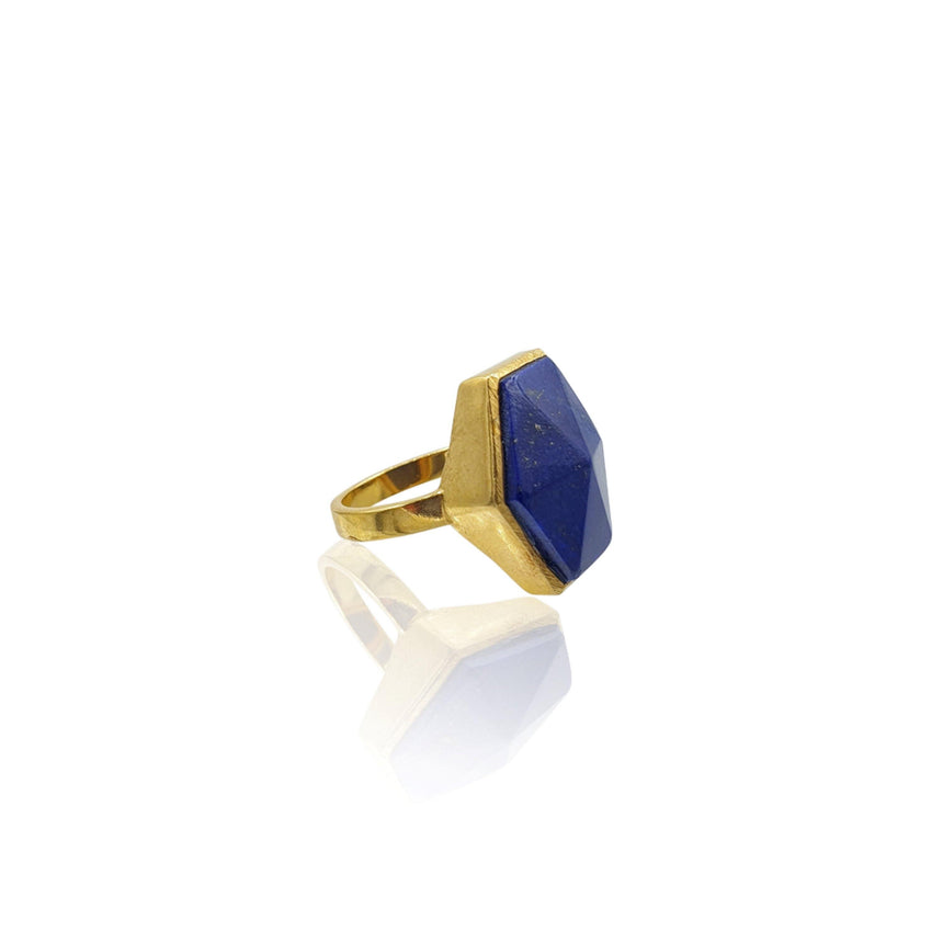 Mara: Hexagon Ring with Lapis Lazuli in 18k Gold Vermeil