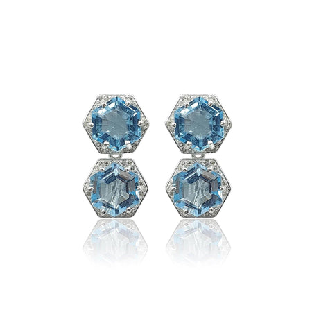 Style Your Own: Hexagon Sky Blue Topaz Earrings in Sterling Silver