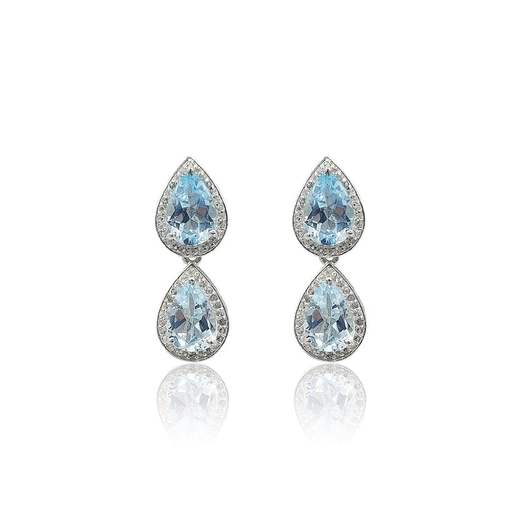Style Your Own: Pear-Shaped Blue Topaz Earrings in Sterling Silver