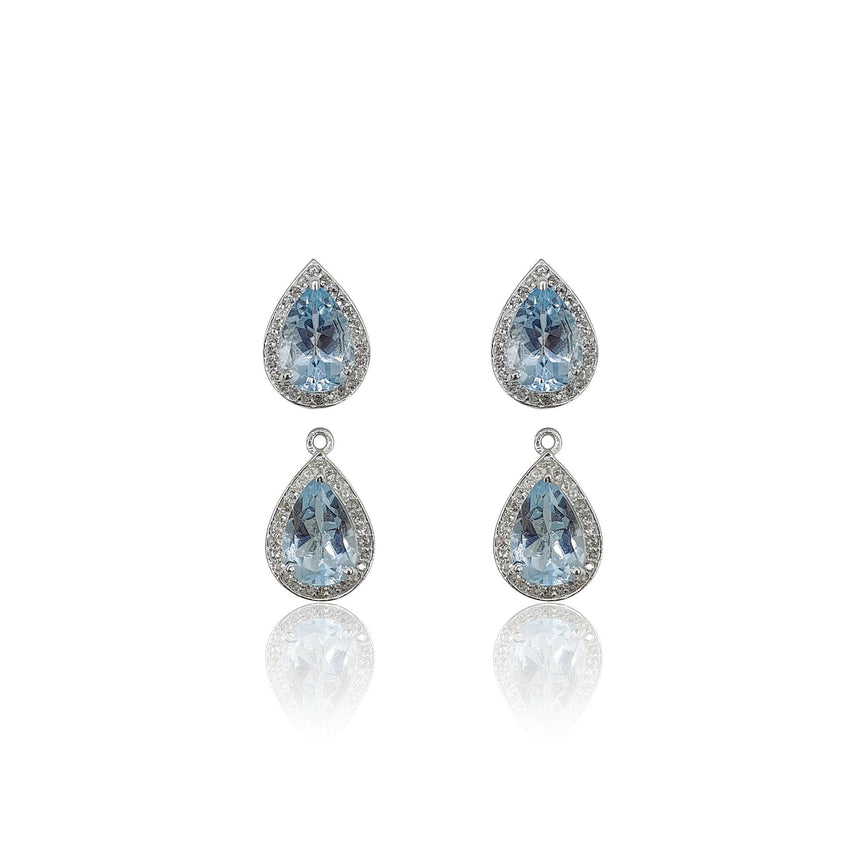 Style Your Own: Pear-Shaped Blue Topaz Earrings in Sterling Silver - Eliza Bautista