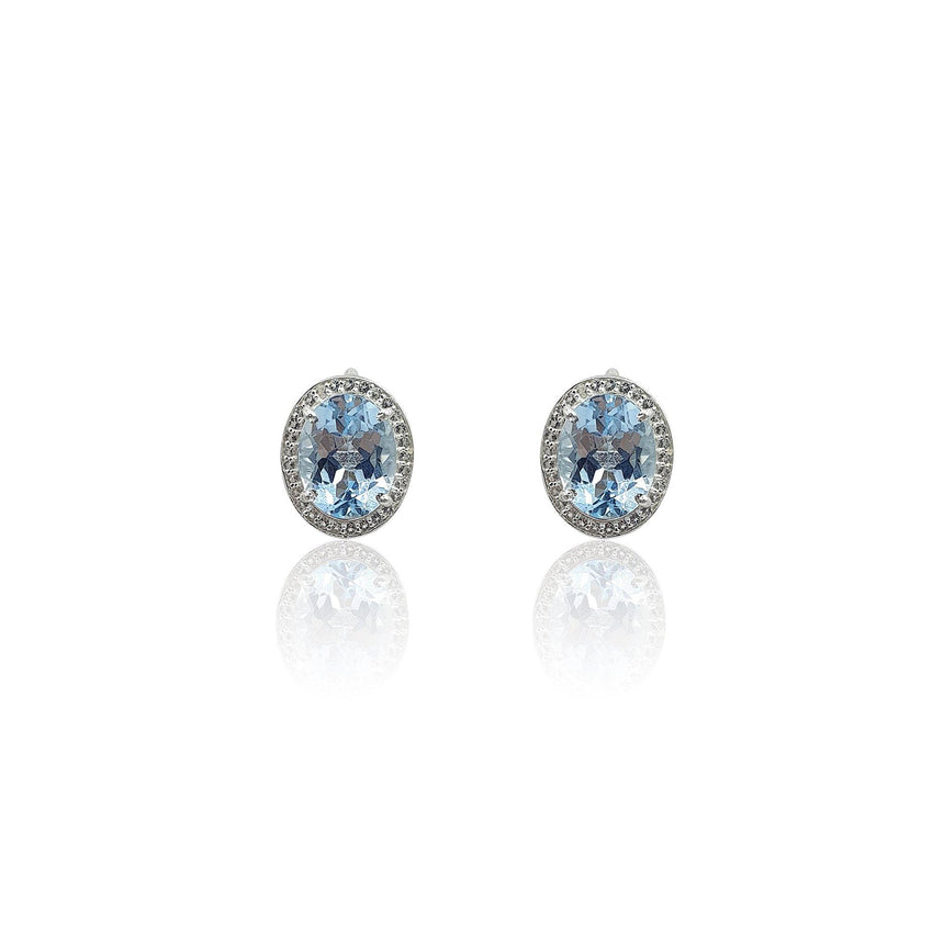 Style Your Own: Oval Sky Blue Topaz Earrings in Sterling Silver