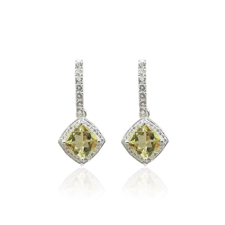Style Your Own: Bar Stud & Cushion Shaped Green Gold Quartz Earrings in Sterling Silver