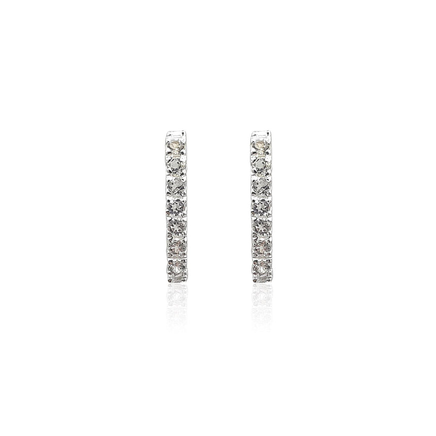 Style Your Own: Bar Stud & Cushion Shaped Green Gold Quartz Earrings in Sterling Silver - Eliza Bautista