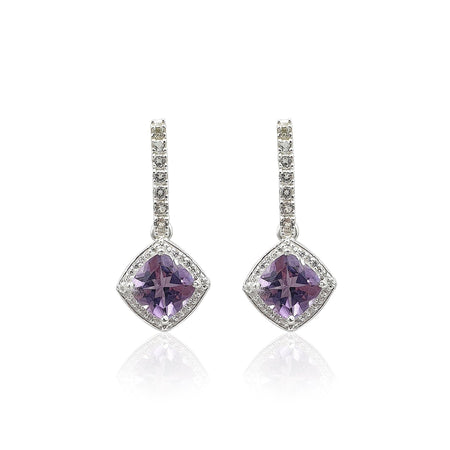 Style Your Own: Bar Stud & Cushion Shaped Amethyst Earrings in Sterling Silver