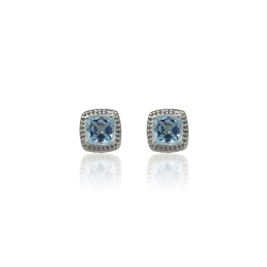 Style Your Own: Cushion Sky Blue Topaz Earrings in Sterling Silver