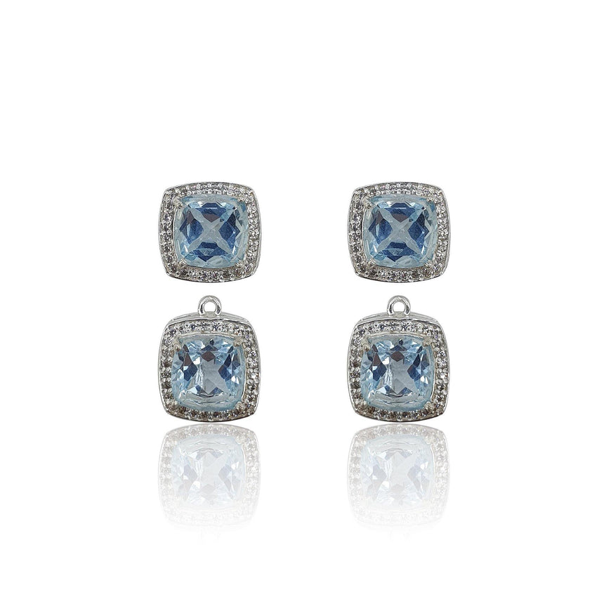 Style Your Own: Cushion Sky Blue Topaz Earrings in Sterling Silver - Eliza Bautista
