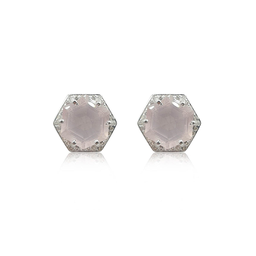Style Your Own: Hexagon Rose Quartz Earrings in Sterling Silver - Eliza Bautista