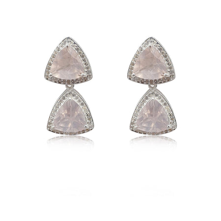 Style Your Own: Trillion Rose Quartz Earrings in Sterling Silver