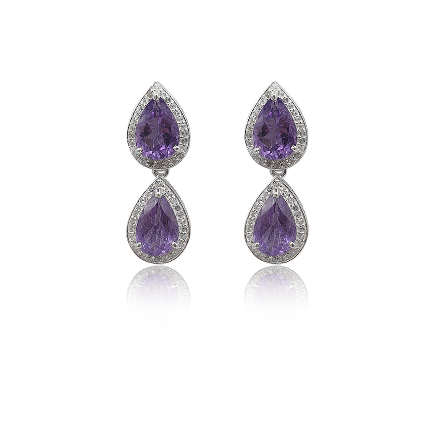 Style Your Own: Hexagon Amethyst Earrings in Sterling Silver