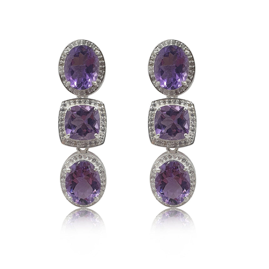 Style Your Own: Cushion Amethyst Earrings in Sterling Silver