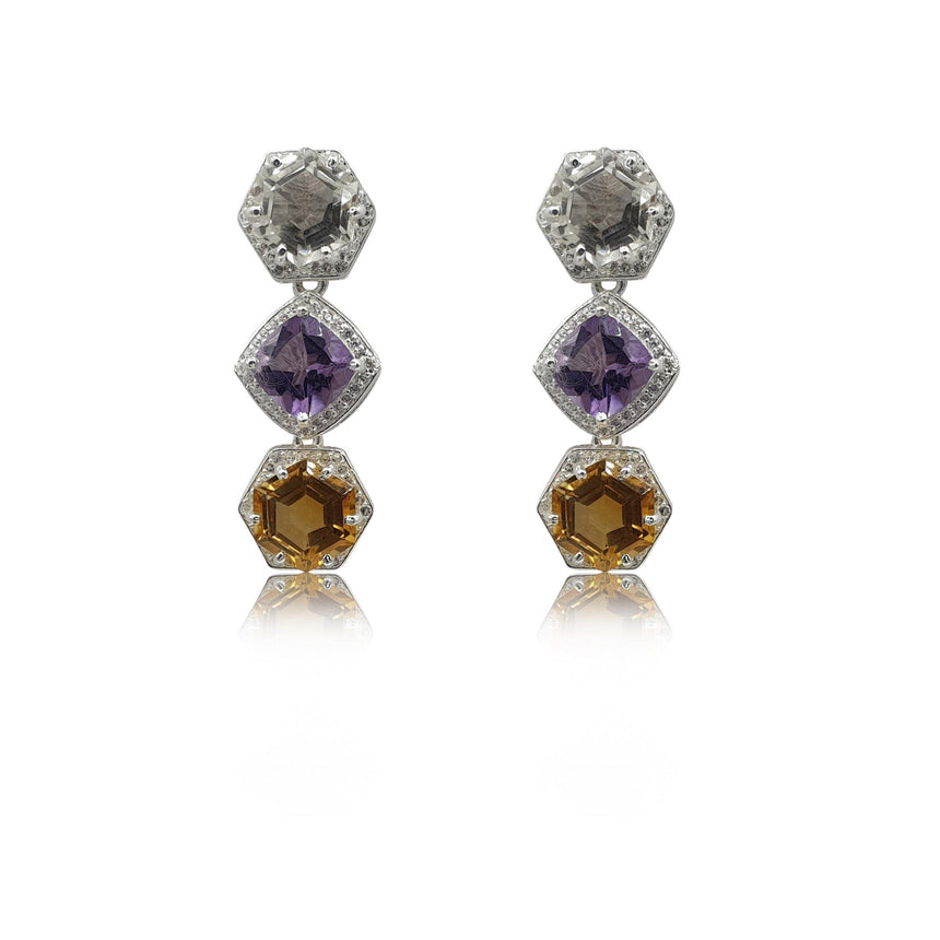 Style Your Own: Hexagon Citrine Earrings in Sterling Silver