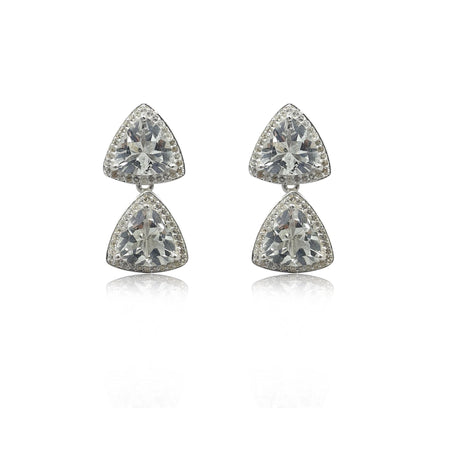 Style Your Own: Trillion White Topaz Earrings in Sterling Silver