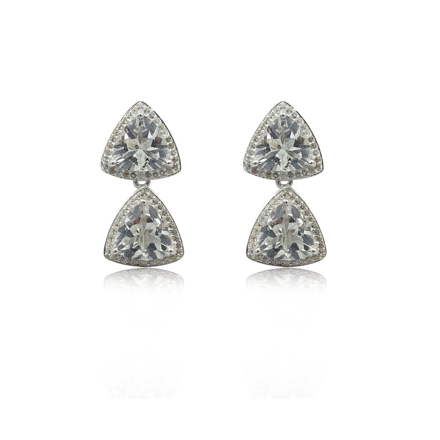 Style Your Own: Trillion White Topaz Earrings in Sterling Silver - Eliza Bautista