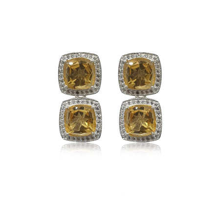 Style Your Own: Cushion Citrine Earrings in Sterling Silver