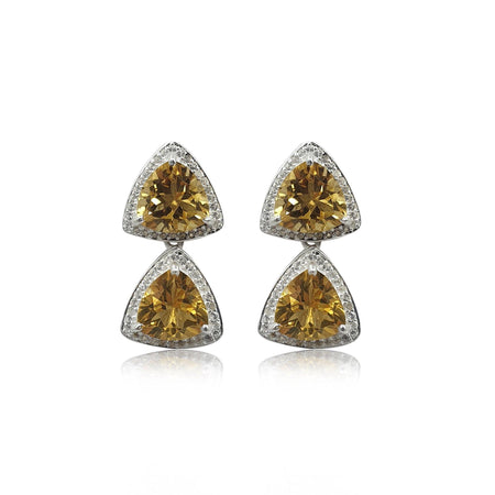 Style Your Own: Trillion Citrine Earrings in Sterling Silver