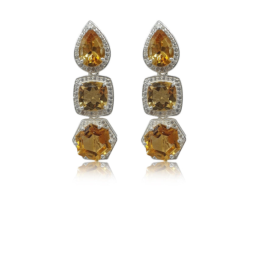 Style Your Own: Pear-Shaped Citrine Earrings in Sterling Silver