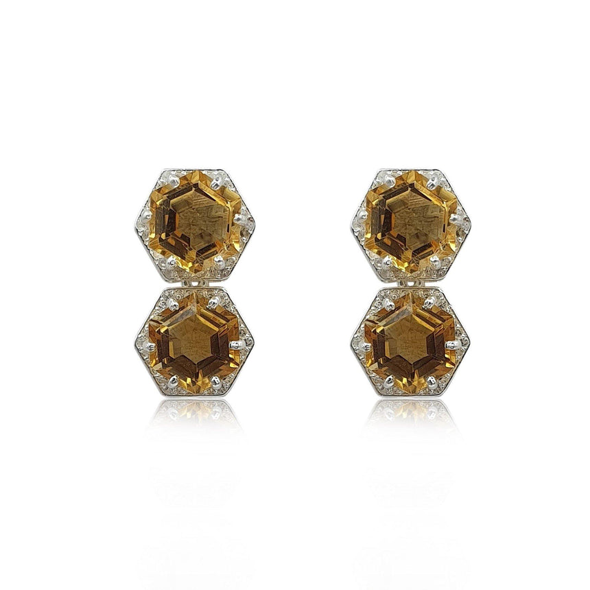 Style Your Own: Hexagon Citrine Earrings in Sterling Silver - Eliza Bautista
