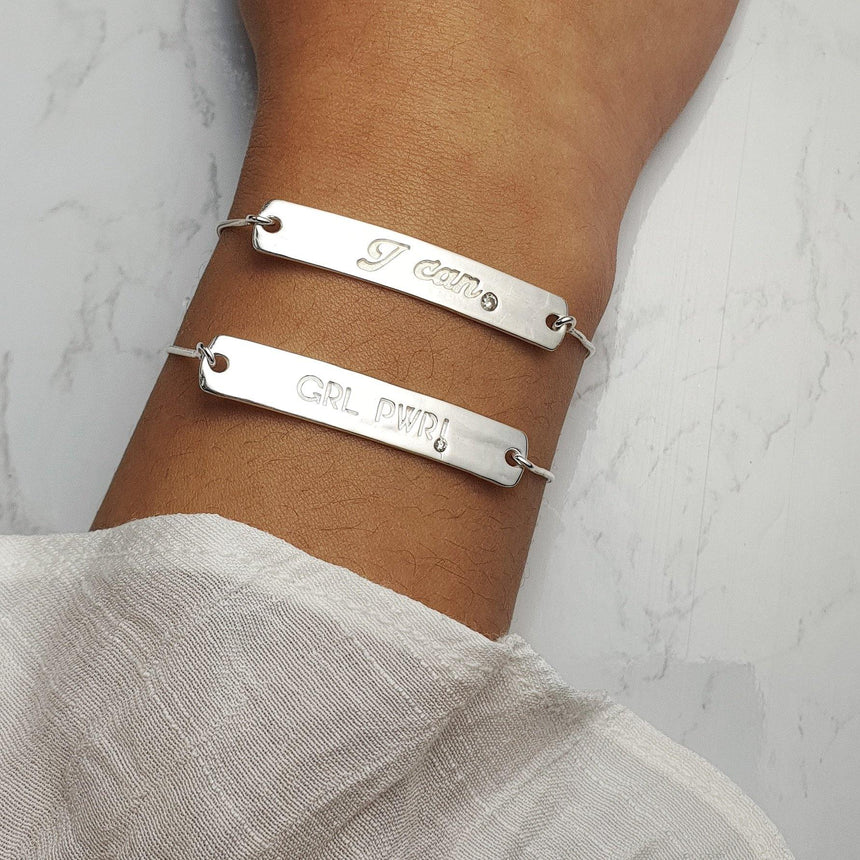 """I Can"" Diamond Bracelet in Sterling Silver"