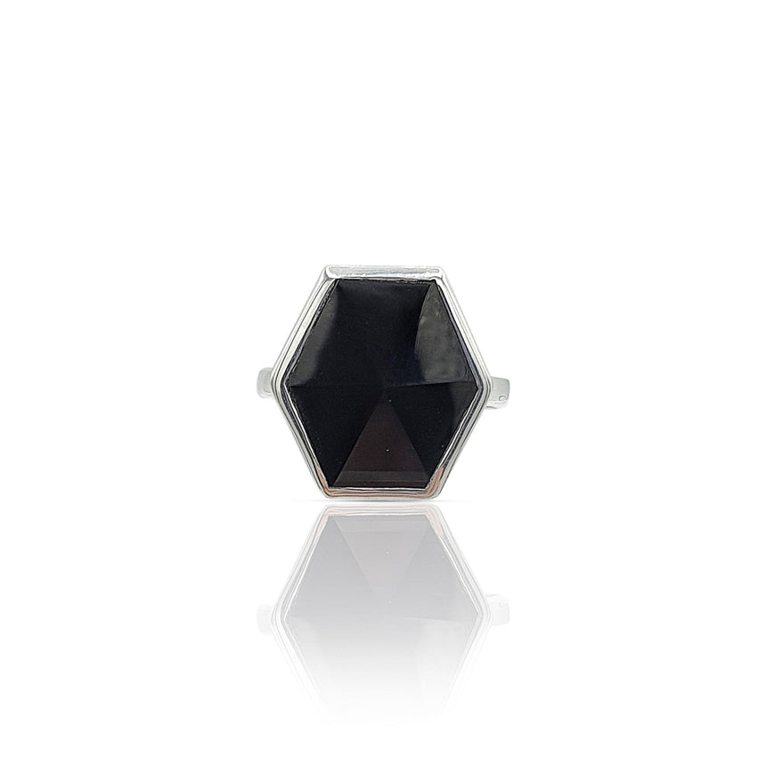 Mara: Hexagon Ring with Red Onyx in Sterling Silver