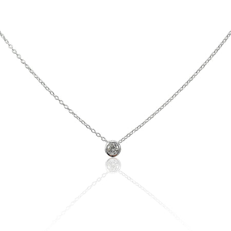 Lucia Diamond Solitaire Necklace in Sterling Silver