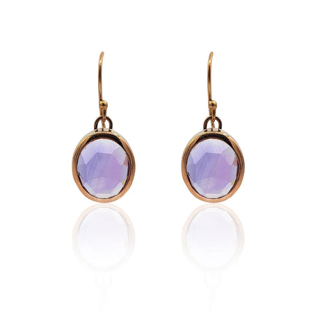 Aissa: Amethyst Earrings in 18k Rose Gold Vermeil on Sterling Silver