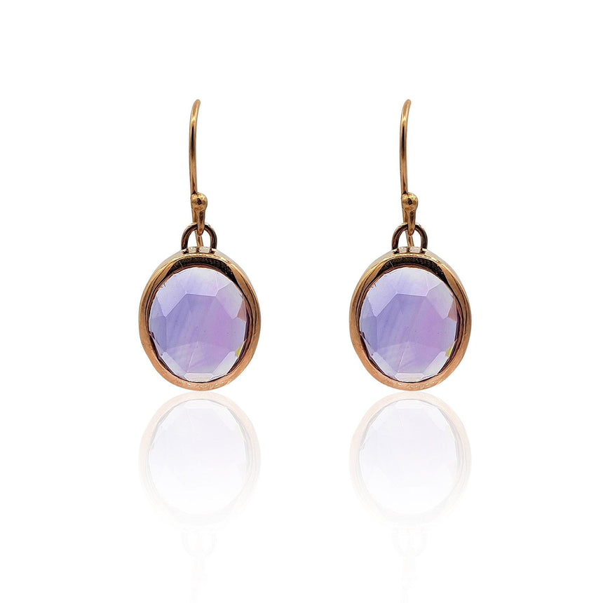 Aissa: Amethyst Earrings in 18k Rose Gold Vermeil on Sterling Silver - Eliza Bautista