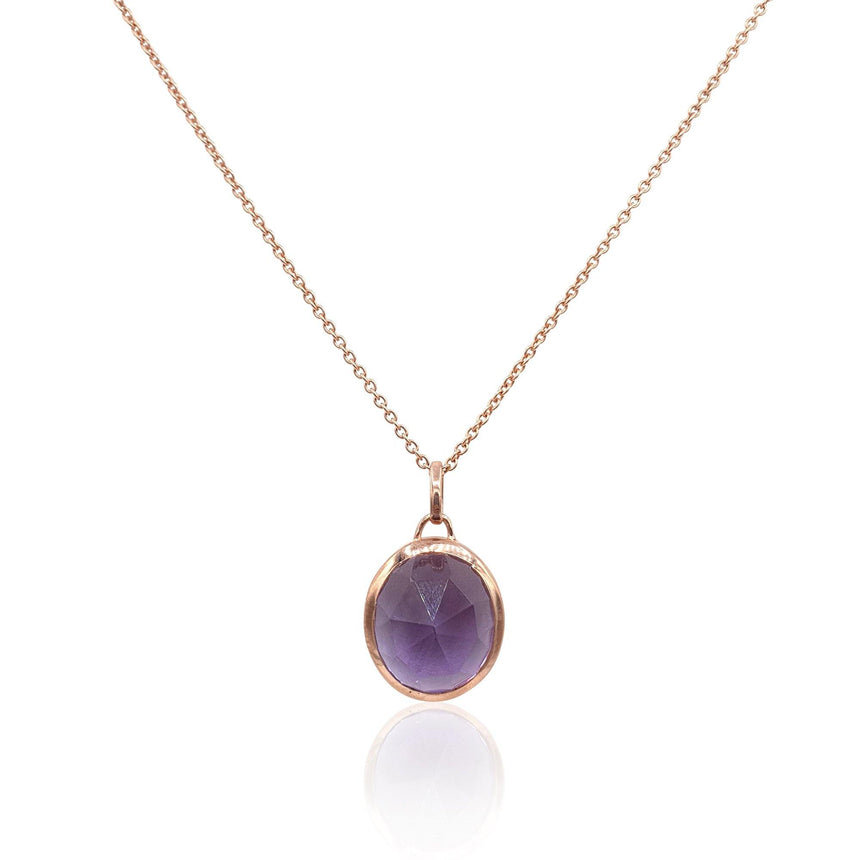 Aissa: Amethyst Necklace in 18k Rose Gold Vermeil on Sterling Silver - Eliza Bautista