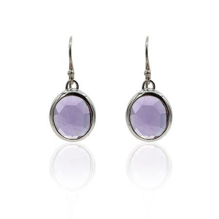 Aissa: Amethyst Earrings in Sterling Silver - Eliza Bautista