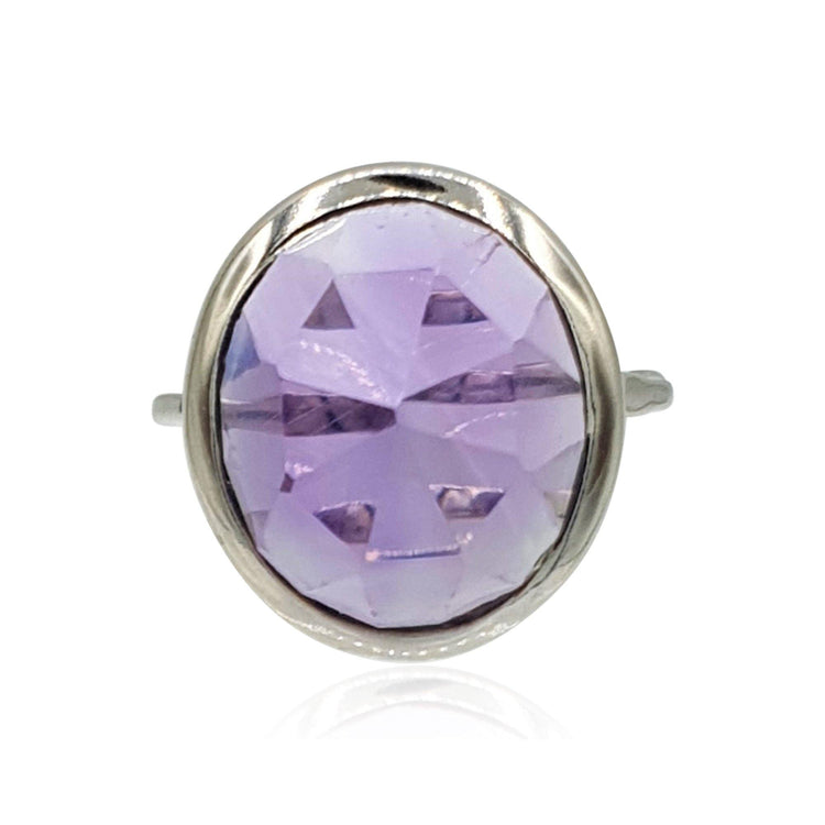 rose cut bezel set amethyst sterling silver ring by eliza bautista british designer of gemstone jewellery and gemstone rings
