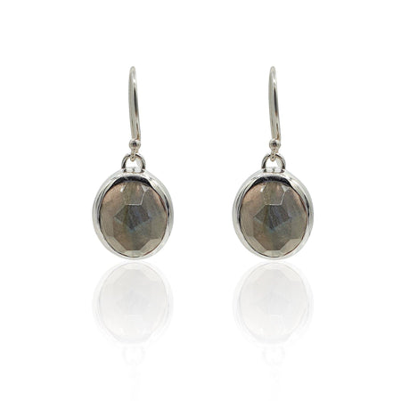Aissa: Labradorite Earrings in Sterling Silver - Eliza Bautista