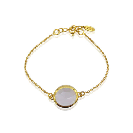 Aissa: Rose Quartz Bracelet in 18k Gold Vermeil on Sterling Silver