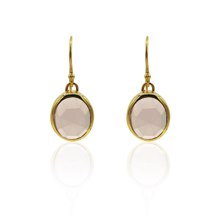 Aissa: Rose Quartz Earrings in 18k Gold Vermeil on Sterling Silver - Eliza Bautista