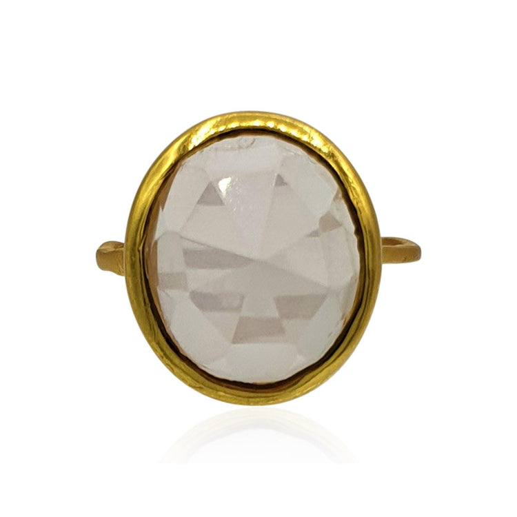 Aissa: Rose Quartz Ring in 18k Gold Vermeil on Sterling Silver - Eliza Bautista