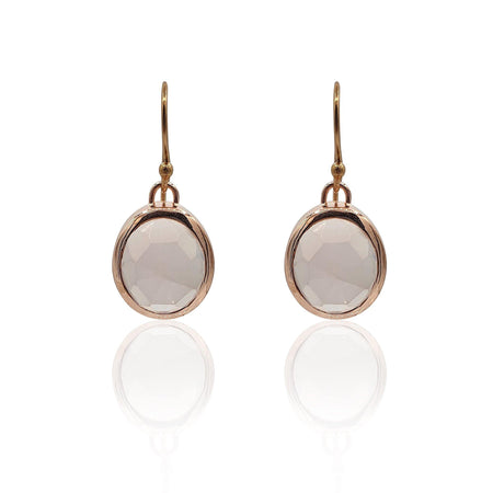 Aissa: Rose Quartz Earrings in 18k Rose Gold Vermeil on Sterling Silver - Eliza Bautista