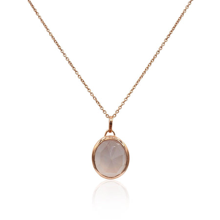 Aissa: Rose Quartz Necklace in 18k Rose Gold Vermeil on Sterling Silver - Eliza Bautista