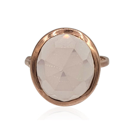 rose cut bezel set rose quartz 18k rose gold sterling silver ring by eliza bautista british designer of gemstone jewellery and gemstone rings