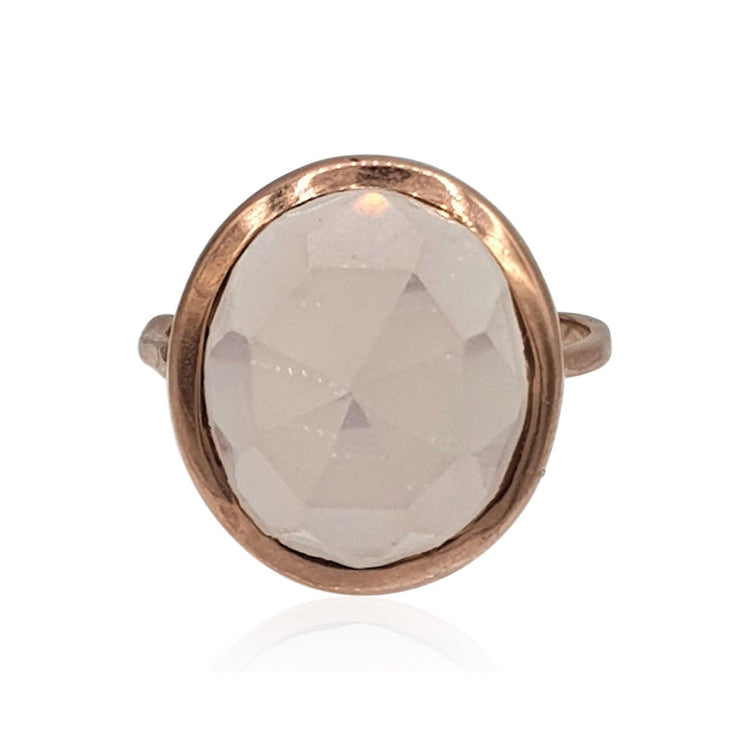 Aissa: Rose Quartz Ring in 18k Rose Gold Vermeil on Sterling Silver - Eliza Bautista