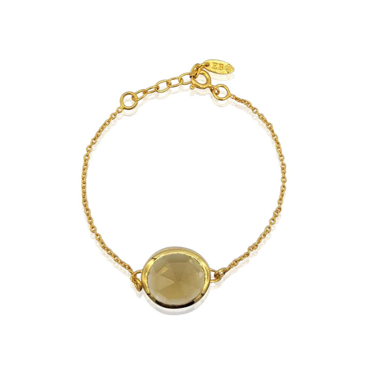 Aissa: Whisky Quartz Bracelet in 18k Gold Vermeil on Sterling Silver