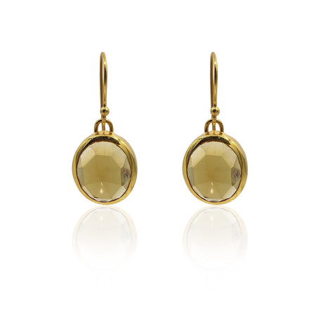 Aissa: Whisky Quartz Earrings in 18k Gold Vermeil on Sterling Silver