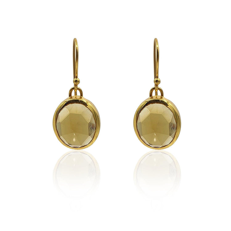 Aissa: Whisky Quartz Earrings in 18k Gold Vermeil on Sterling Silver - Eliza Bautista