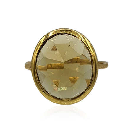 Aissa: Whisky Quartz Ring in 18k Gold Vermeil on Sterling Silver - Eliza Bautista