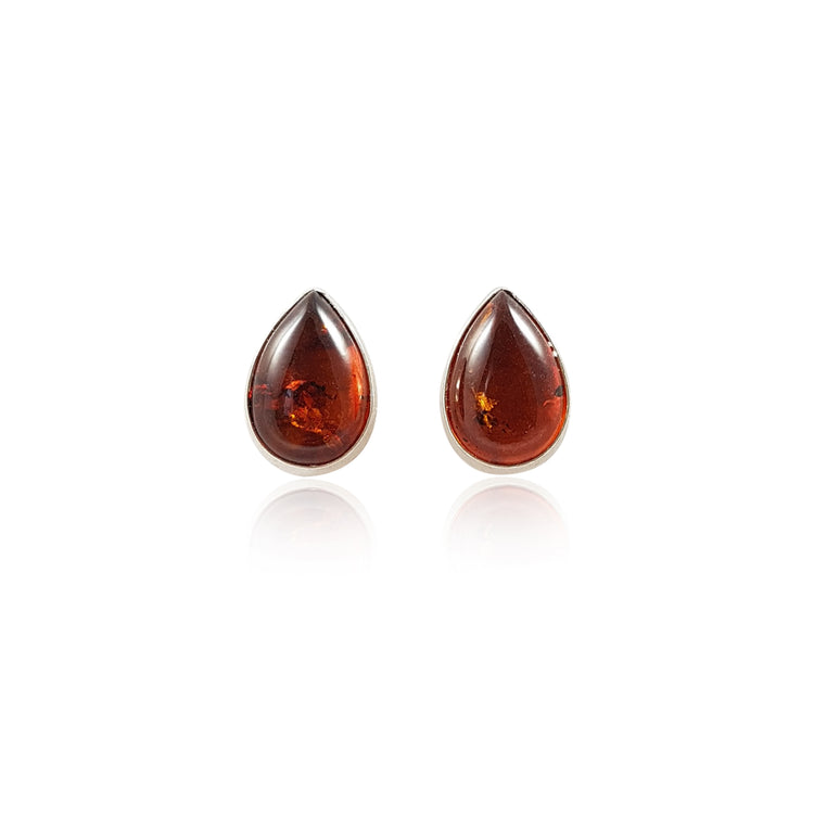 Teardrop Amber Stud Earrings - Eliza Bautista