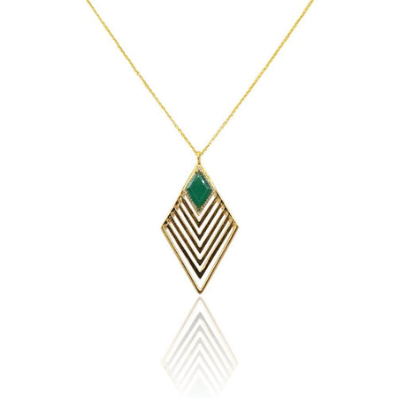Greta Art Deco Necklace with Green Onyx & White Topaz in 18k Gold Vermeil