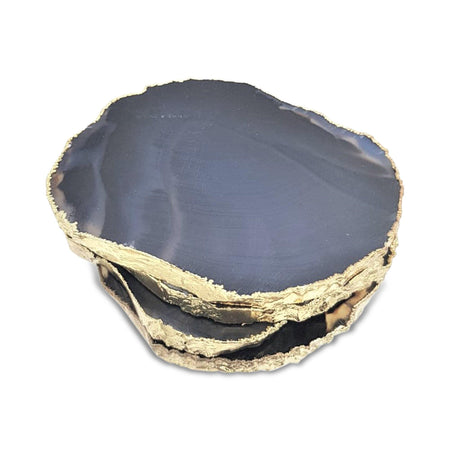 Black / Brown Agate Coasters with Gold Electroplating