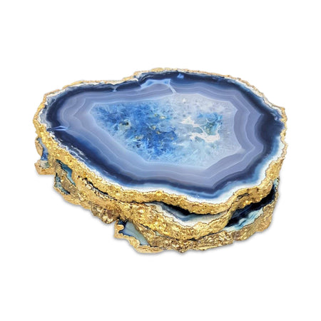 Blue Agate Coasters with Gold Electroplating