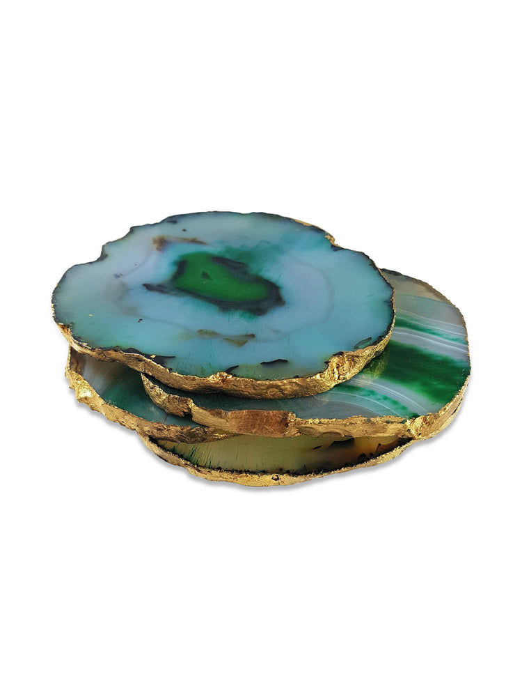 Dark Green Agate Coasters with Gold Leaf Edging