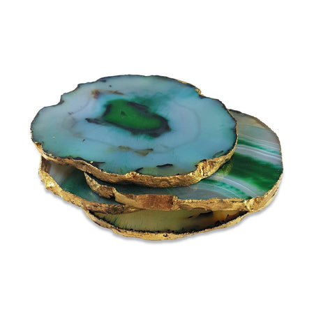 Green Agate Coasters with Gold Leaf Edging - Set of 3 - Eliza Bautista