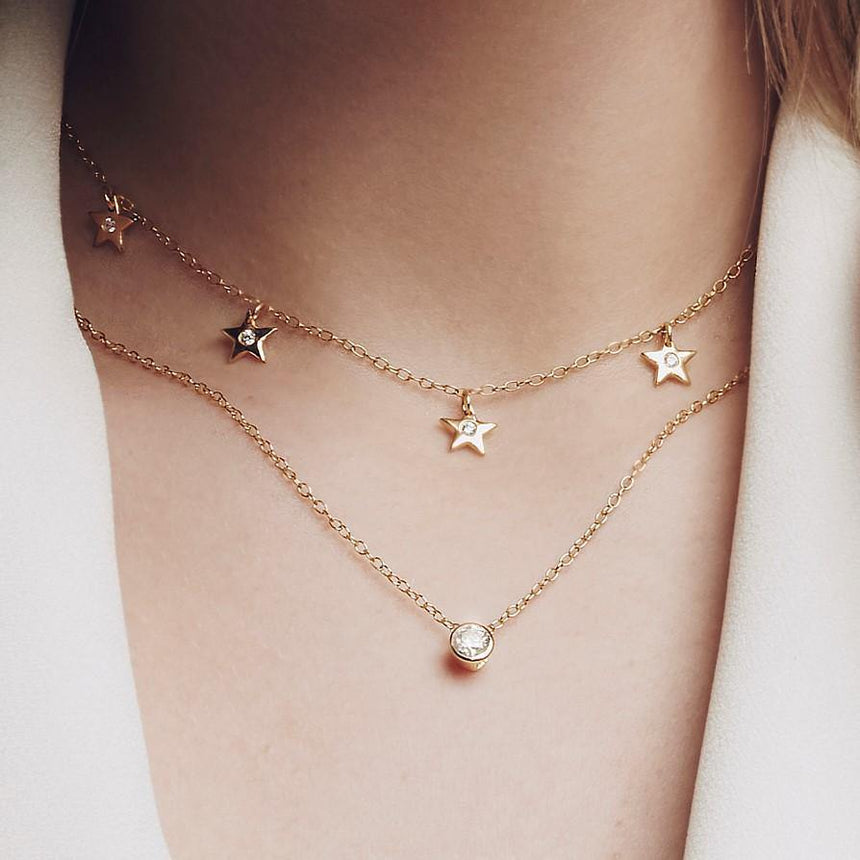 Star Charms Necklace with DIAMONDS in 18k Rose Gold Vermeil